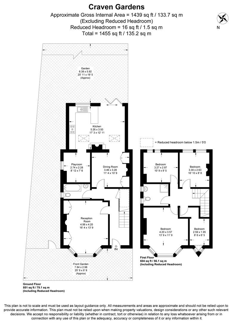 Floorplan for Craven Gardens, Wimbledon